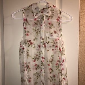 NEVER WORN white floral hollister blouse